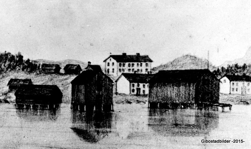 Skisse av CJ Clarks fra 1868. Vi ser også her de samme tre gårdene som over, men nå er også Christian Møllers brygge kommet opp.