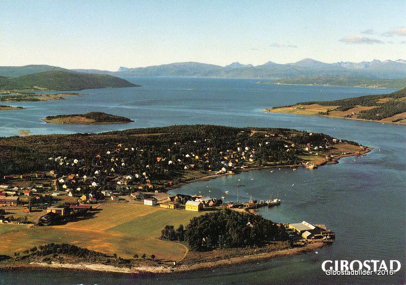 Gibostad ca 1985. Utgiver Norske flybilder as nr 0040-03